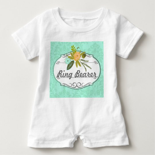 Mint Damask Wedding Ring Bearer Baby Romper