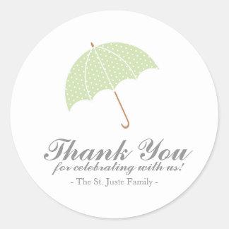 mint dot umbrella BABY SHOWER party favor sticker