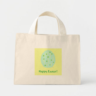 Mint Easter Egg with Dots and Confetti Mini Tote Bag