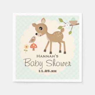 Mint Egg Woodland Deer Baby Shower Disposable Napkins