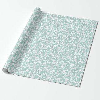 Mint Elegant Damask Print Wrapping Paper