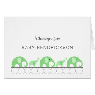 Mint elephants baby shower thank you note + poem card