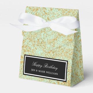 Mint & Faux Gold Glitter Dust Favor Box
