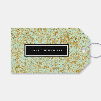 Mint & Faux Gold Glitter Dust Pack Of Gift Tags