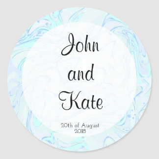 Mint faux marble texture round sticker
