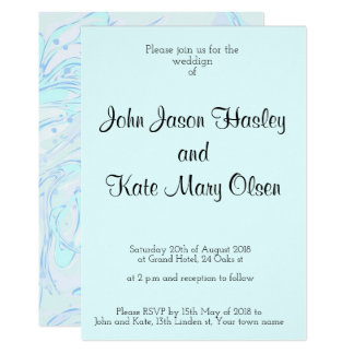 Mint faux marble texture wedding invitation design