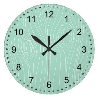 Mint Faux Wood Large Clock
