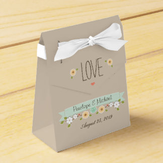 MINT FLORAL BOHO WEDDING FAVOR BOX