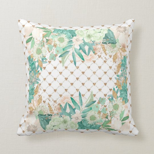 Mint Floral Flowers Hearts Design Throw Pillow