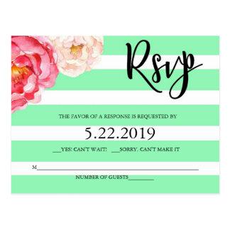 Mint Floral RSVP Post Card