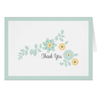 Mint Floral Thank You Card