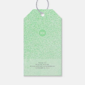 Mint Floral Vintage Monogram Wedding Pack Of Gift Tags