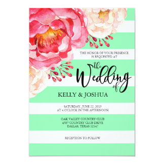 Mint Floral Wedding Invitation