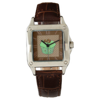 Mint Frosted Chocolate Cupcake, Fractal Background Watch