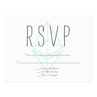 Mint geometric wedding rsvp postcards