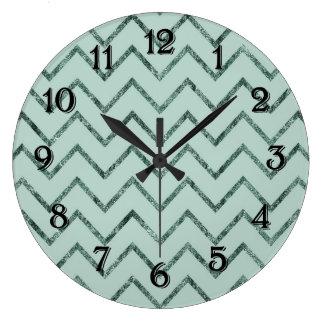 Mint Glam Chevron Zigzag Stripes Clocks