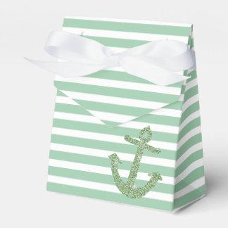 Mint Glitter Nautical Anchor Wedding Favor Box