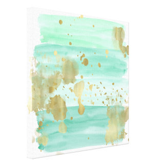 Mint Gold Abstract Canvas Print