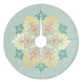 Mint, Gold and Coral Christmas Mandala Fleece Tree Skirt