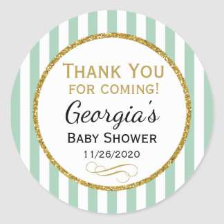 Mint Gold Baby Shower Thank You Coming Favor Tags Round Sticker