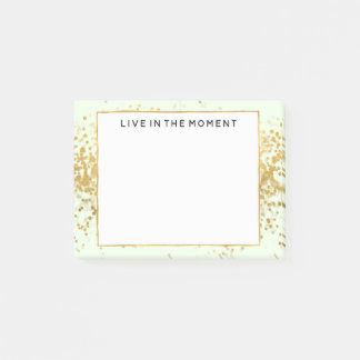 Mint Gold Confetti Dots Post-it Notes