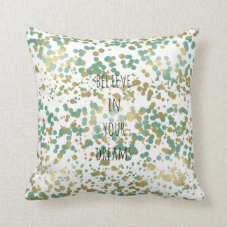 Mint Gold Confetti Personalized Throw Pillow