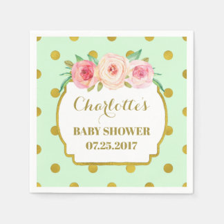 Mint Gold Dots Blush Floral Baby Shower Napkin