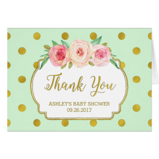 Mint Gold Dots Floral Baby Shower Thank You Card