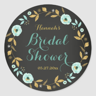 Mint Gold flower Chalkboard Bridal Shower Sticker