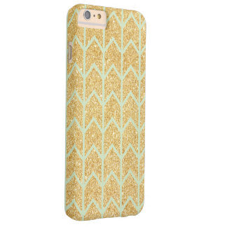 Mint Gold Glitter Unique Zigzag Chevron Pattern Barely There iPhone 6 Plus Case