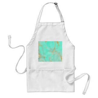Mint Gold Marble Abstract Aqua Teal Painted Look Apron