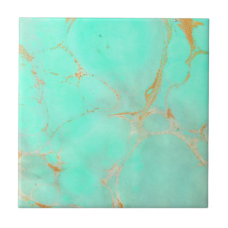Mint & Gold Marble Abstract Aqua Teal Painted Look Ceramic Tile