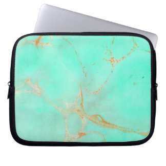 Mint & Gold Marble Abstract Aqua Teal Painted Look Laptop Sleeve