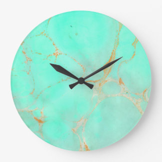Mint & Gold Marble Abstract Aqua Teal Painted Look Large Clock