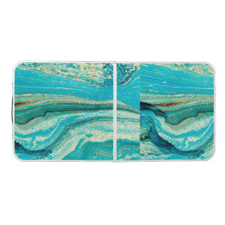 Mint,gold,marble,nature,stone,pattern,modern,chic, Beer Pong Table