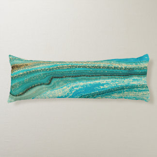 Mint,gold,marble,nature,stone,pattern,modern,chic, Body Pillow