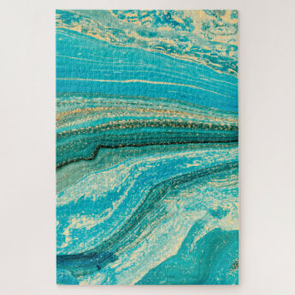 Mint,gold,marble,nature,stone,pattern,modern,chic, Jigsaw Puzzle