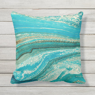 Mint,gold,marble,nature,stone,pattern,modern,chic, Outdoor Pillow
