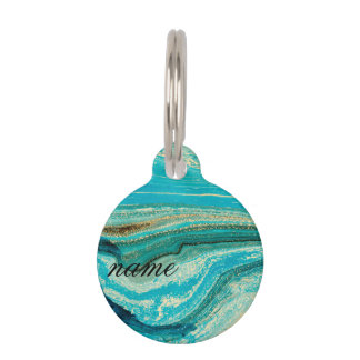 Mint,gold,marble,nature,stone,pattern,modern,chic, Pet ID Tag