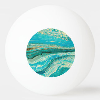 Mint,gold,marble,nature,stone,pattern,modern,chic, Ping Pong Ball