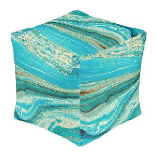 Mint,gold,marble,nature,stone,pattern,modern,chic, Pouf