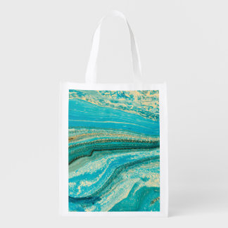 Mint,gold,marble,nature,stone,pattern,modern,chic, Reusable Grocery Bag