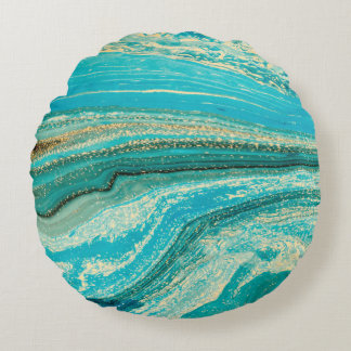 Mint,gold,marble,nature,stone,pattern,modern,chic, Round Pillow