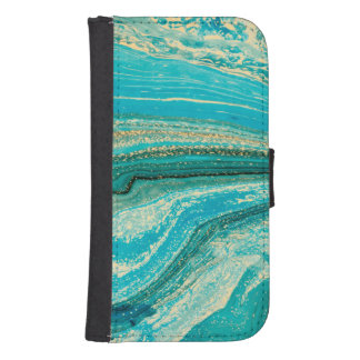 Mint,gold,marble,nature,stone,pattern,modern,chic, Samsung S4 Wallet Case