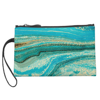 Mint,gold,marble,nature,stone,pattern,modern,chic, Suede Wristlet