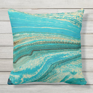 Mint,gold,marble,nature,stone,pattern,modern,chic, Throw Pillow