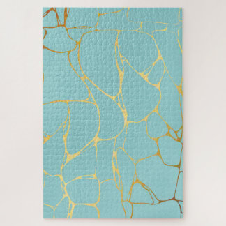 mint,gold,marbled,modern,trendy,chic,beautiful,ele jigsaw puzzle