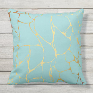 mint,gold,marbled,modern,trendy,chic,beautiful,ele outdoor pillow