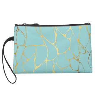 mint,gold,marbled,modern,trendy,chic,beautiful,ele suede wristlet