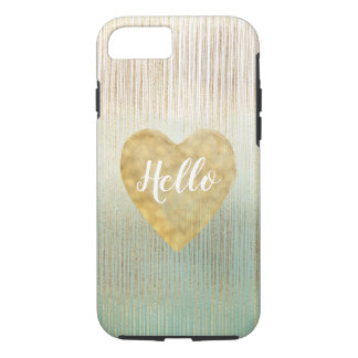 Mint Gold Ombre Stripes Heart Case-Mate iPhone Case